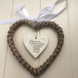 Shabby personalised Gift Godmother Christening hanging Willow heart Present